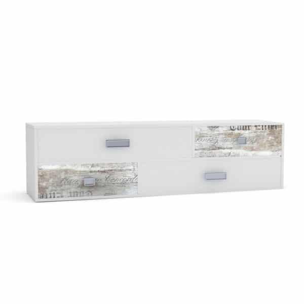 Pump Έπιπλο TV 150x40x43 Λευκό με Μοντέρνα Διακόσμηση TO-PUMP4S