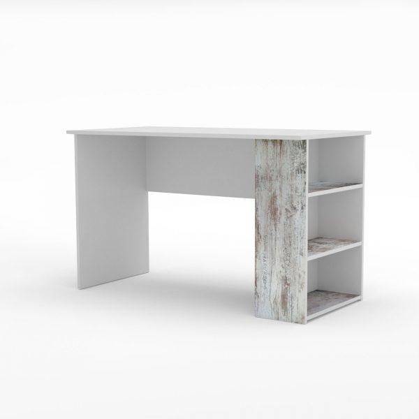 Pump Γραφείο 120x60x73cm Λευκό με Μοντέρνα Διακόσμηση και Ράφια TO-PUMPDESK