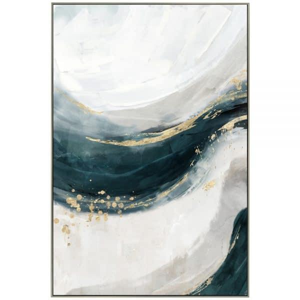 FREE WAVES ΠΙΝΑΚΑΣ 62,5x4.5x92,5Ycm OIL PAINTING ΜΕ ΜΕΤΑΛΛΙΚΗ ΚΟΡΝΙΖΑ ΣΕ ΑΣΗΜΙ ΧΡΩΜΑ
