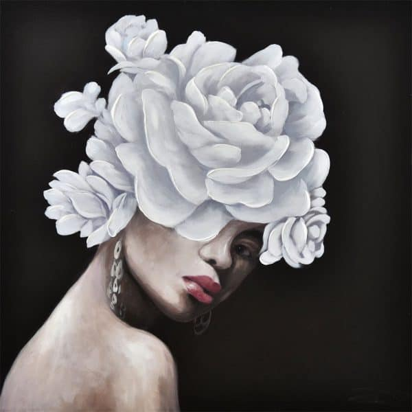 GREY ROSE ON TOP ΠΙΝΑΚΑΣ 80x3,5x80Ycm OIL PAINTING