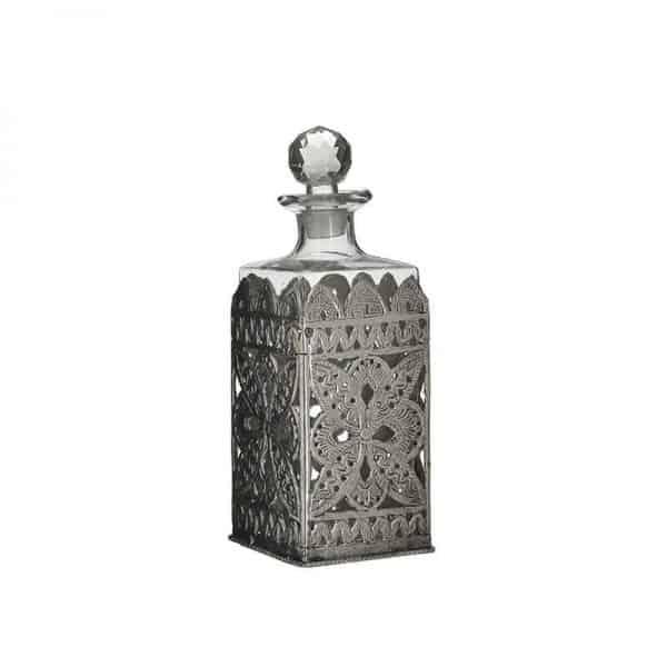 Inart Καράφα Διαφανές,Ασήμι Σίδερο   Γυαλί 10x10x26 cm