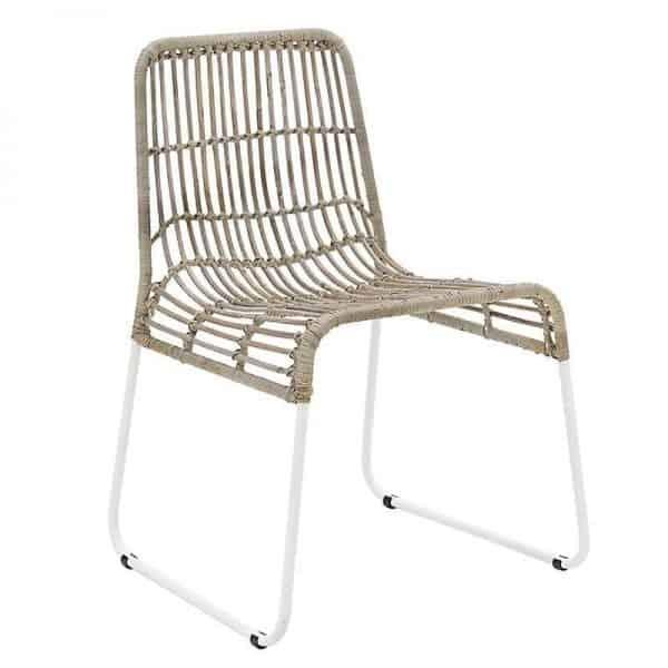 Inart Καρέκλα Ρατάν Γκρί,Καφέ Σίδερο 44x45x75 cm