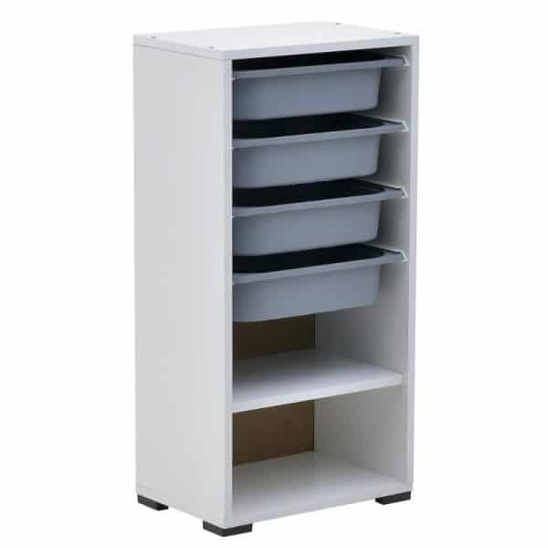 Inart Ντουλάπι Με 4 Συρτάρια Λευκό-Ελεφαντόδοντο    Πλαστικό 45x30x92 cm