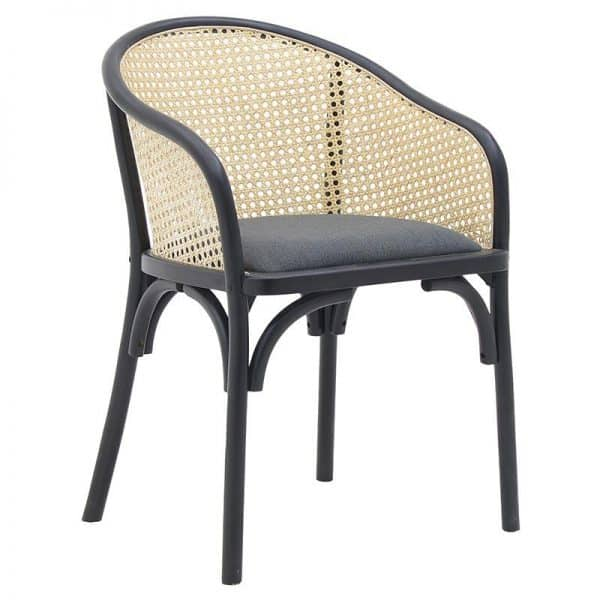 Inart Καρέκλα Μαύρο,Φυσικό μπεζ  Beech Linen 55x56x80 cm