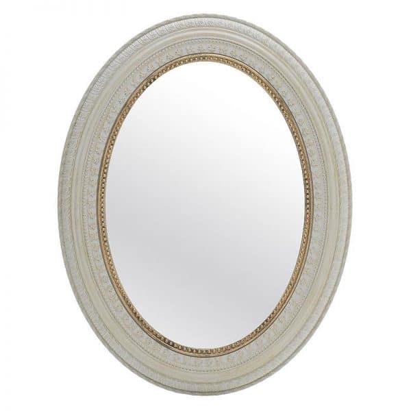 Inart Καθρέπτης Τοίχου Λευκό-Ελεφαντόδοντο,Χρυσό    Πλαστικό 77.5x60x2.4 cm