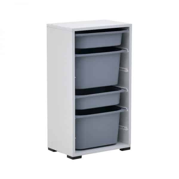 Inart Ντουλάπι Με 4 Συρτάρια Λευκό-Ελεφαντόδοντο,Γκρί    Πλαστικό 45x30x83 cm