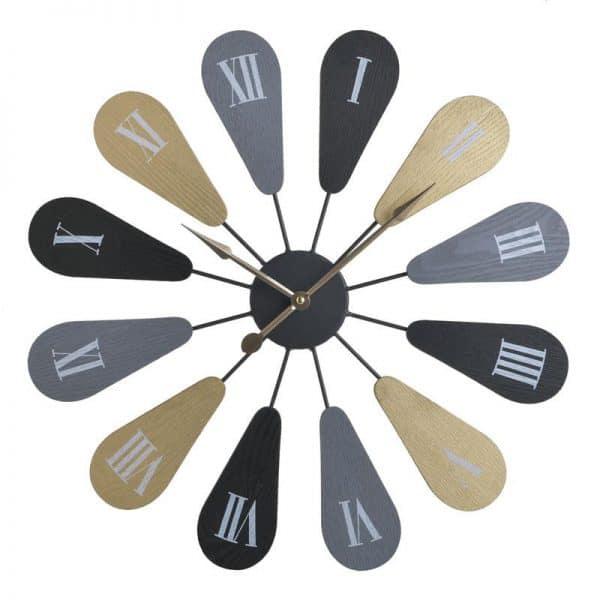 Inart Ρολόι Τοίχου Φυσικό μπεζ,Μαύρο Σίδερο 50x5x50 cm