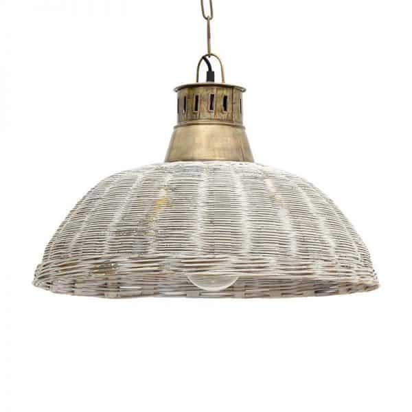 Inart Φωτιστικό Οροφής Χρυσό,Λευκό-Ελεφαντόδοντο Σίδερο Μπαμπού 49x49x33 cm
