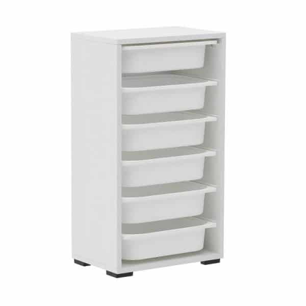 Inart Ντουλάπι Με 6 Συρτάρια Λευκό-Ελεφαντόδοντο,Γκρί    Πλαστικό 45x30x85 cm