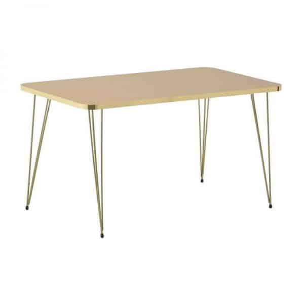 Inart Τραπέζι Σαλονιού Χρυσό,Φυσικό μπεζ Σίδερο MDF 90x49x50 cm