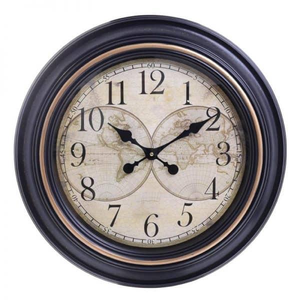 Inart Ρολόι Ροίχου Μαύρο,Μέντα    Πλαστικό 61x5.5x61 cm