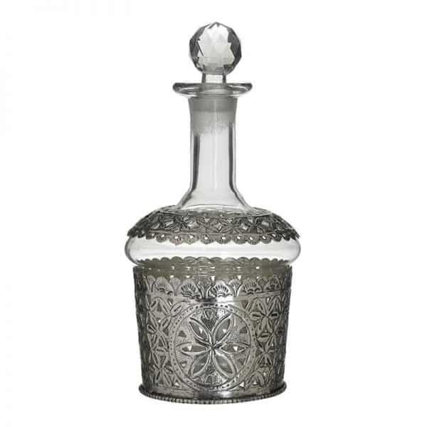 Inart Καράφα Ασήμι,Διαφανές Σίδερο   Γυαλί 12x12x25 cm