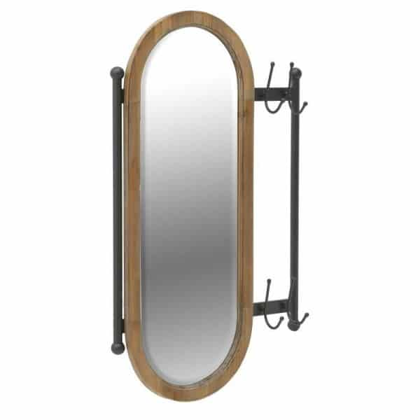 Inart Καθρέπτης Τοίχου/Κρεμάστρα Φυσικό μπεζ,Μαύρο Σίδερο Fir  Γυαλί 55x6x85 cm