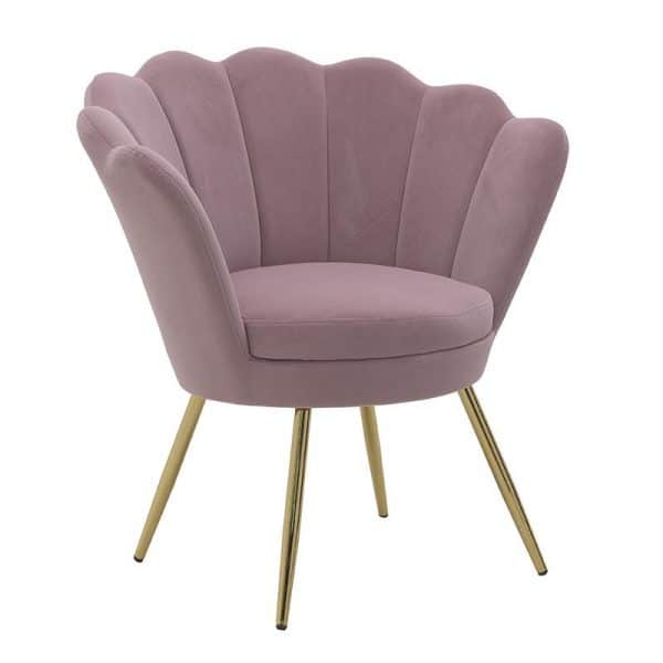 Inart Βελούδινη Πολυθρόνα Ροζ-Μωβ Σίδερο  Συνθετικό / ΠΟΛΥΕΣΤΕΡ 76x62x83 cm