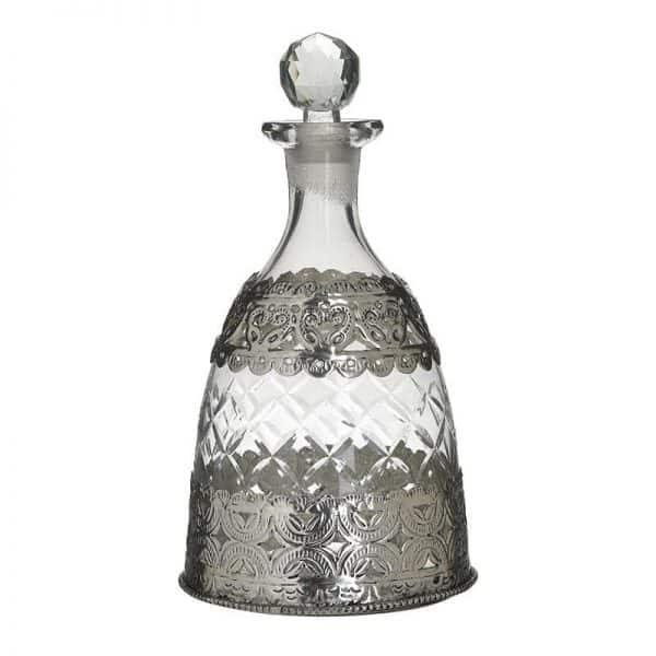 Inart Καράφα Διαφανές,Ασήμι Σίδερο   Γυαλί 14x14x26 cm