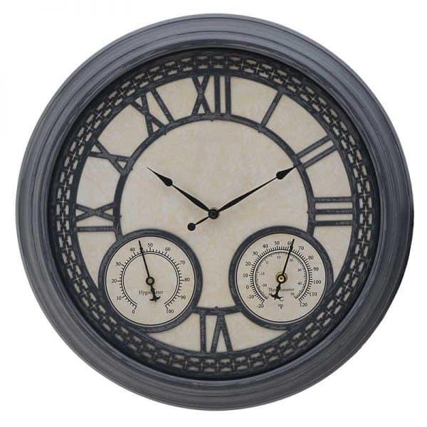 Inart Ρολόι Τοίχου Γκρί,Μέντα    Πλαστικό 45.5x5x45.5 cm