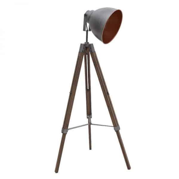 Inart Επιδαπέδιο Φωτιστικό Ασήμι,Φυσικό μπεζ Σίδερο Πεύκο 40x18x137 cm