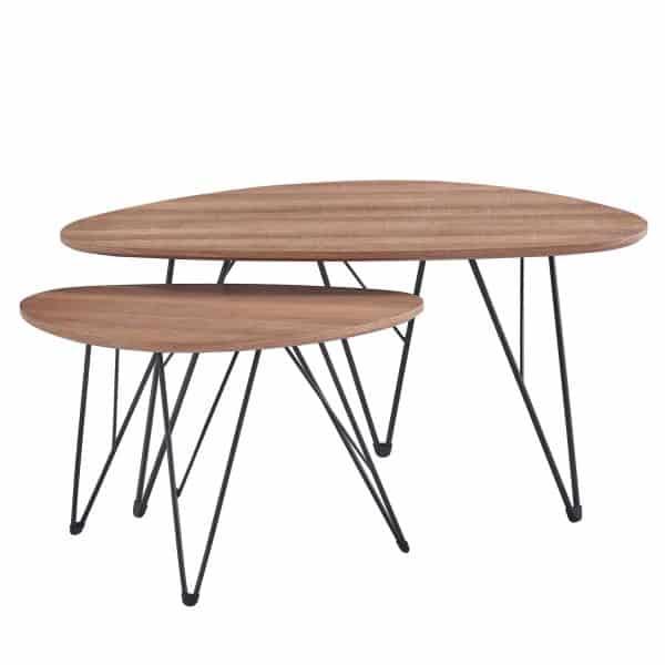 DION COFFEE TABLE OVAL 90x60x45Ycm ΕΠΙΦΑΝΕΙΑ ΦΥΣΙΚΟ /ΜΑΥΡΗ ΜΕΤΑΛΛΙΚΗ ΒΑΣΗ