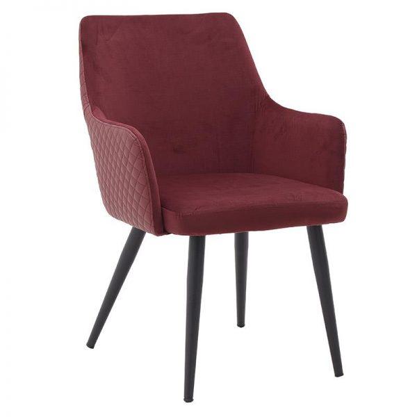 Inart Βελούδινη/Μεταλλική Καρέκλα Κόκκινο Σίδερο  Συνθετικό / ΠΟΛΥΕΣΤΕΡ 61x65x87 cm