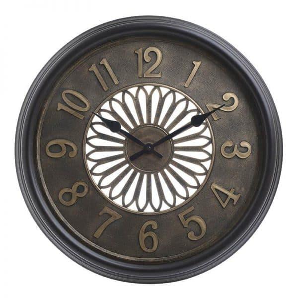Inart Ρολόι Τοίχου Χρυσό,Μαύρο    Πλαστικό 51.5x5x51.5 cm