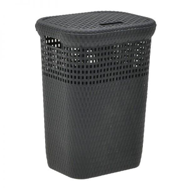 Inart Καλάθι Απλύτων Μαύρο    Πλαστικό 42x33x57 cm