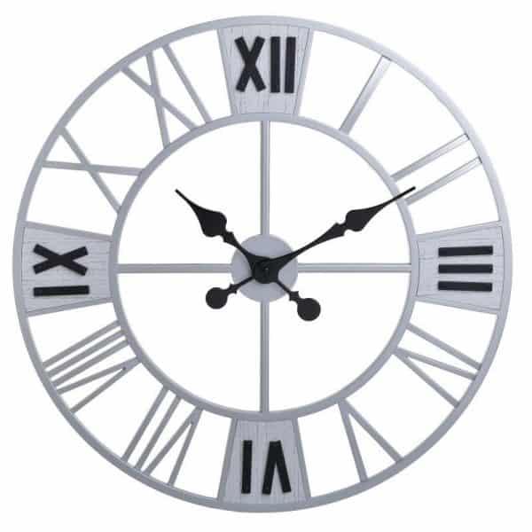Inart Ρολόι Τοίχου Ασήμι,Ασπρόμαύρο    Πλαστικό 61x4.2x61 cm