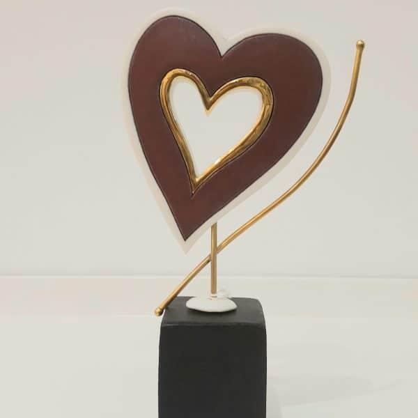 Χειροποίητη Επιτραπέζια Καρδιά από Ορείχαλκο και Πορσελάνη Μπορντό 22x12x5cm