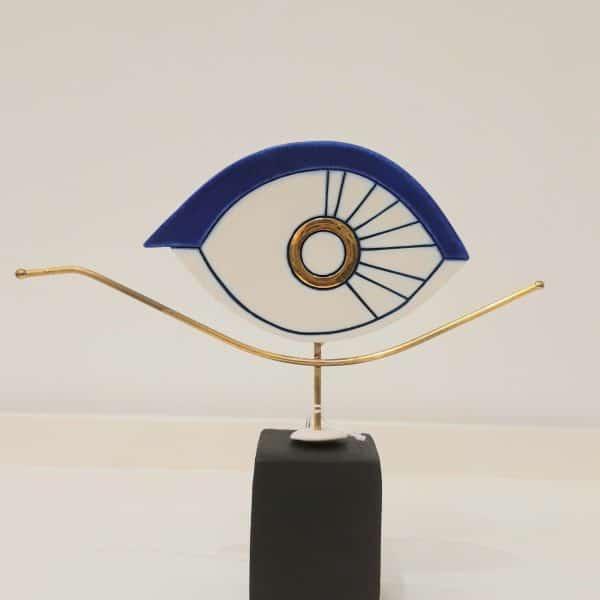 Χειροποίητο Επιτραπέζιο Μάτι Οβάλ από Ορείχαλκο και Πορσελάνη 22x20x5cm