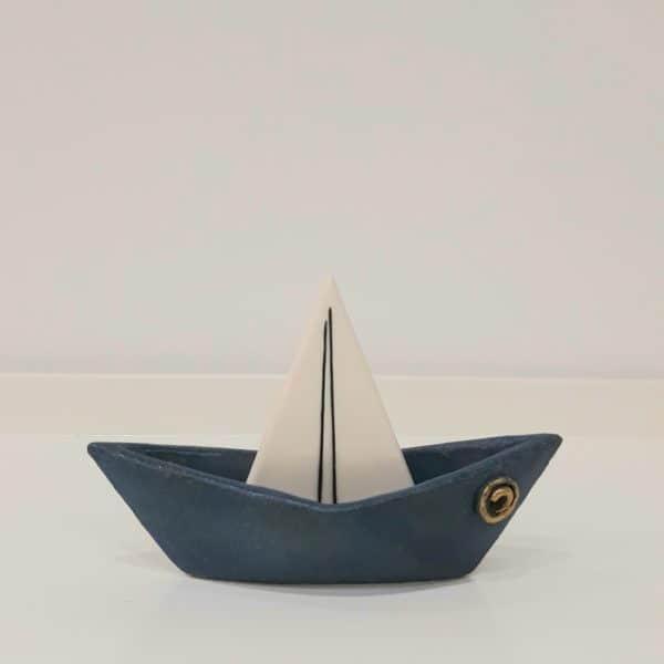 Χειροποίητη Επιτραπέζια Τρισδιάστατη Βάρκα από Πορσελάνη Μπλε 17x12x7cm