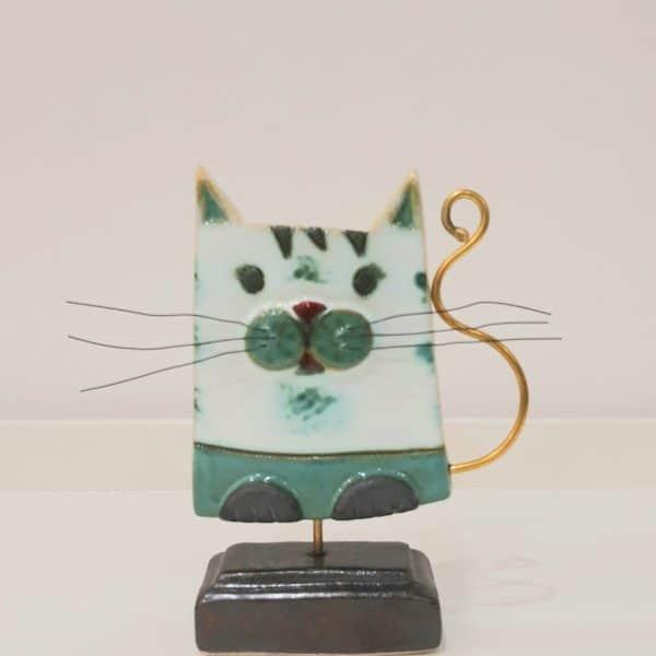 Χειροποίητη Επιτραπέζια Γάτα από Ορείχαλκο και Πορσελάνη Πράσινη 15x11x4cm