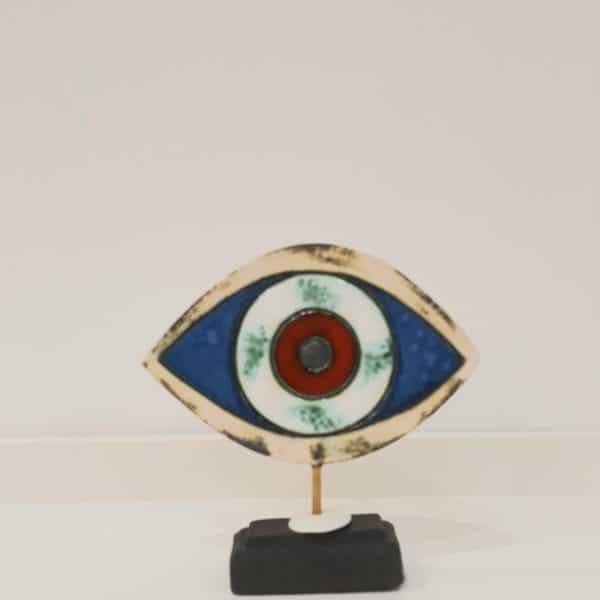Χειροποίητο Επιτραπέζιο Μάτι από Ορείχαλκο και Πορσελάνη Μπλε/ Κόκκινο 14x14x3cm