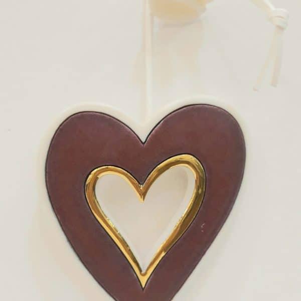 Χειροποίητη Επιτοίχια Καρδιά από Πορσελάνη Μπορντό 12x10x1cm