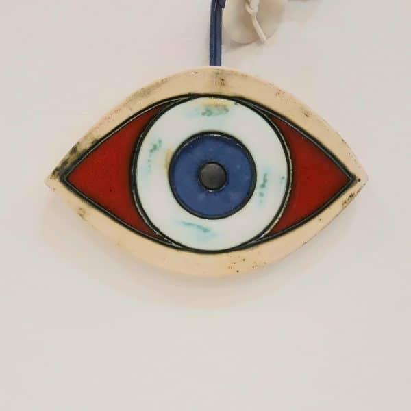 Χειροποίητο Επιτoίχιο Μάτι από Πορσελάνη Κόκκινο 13x10x1cm