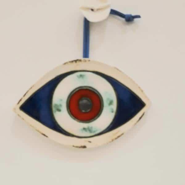 Χειροποίητο Επιτoίχιο Μάτι από Πορσελάνη Μπλε 13x10x1cm