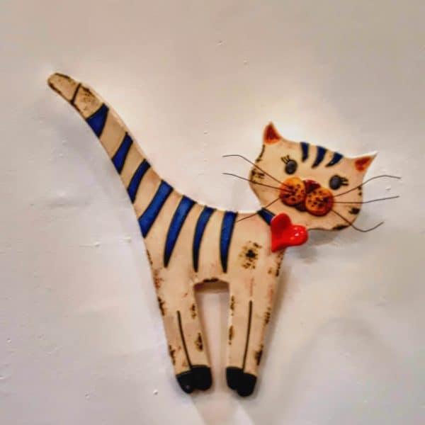 Χειροποίητη Επιτοίχια Γάτα Ριγέ Ουρά από Πορσελάνη  24x1x26cm