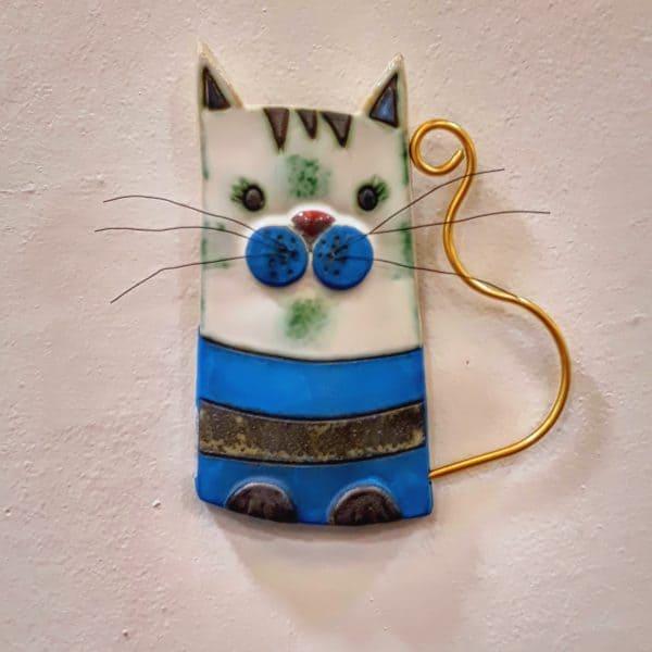 Χειροποίητη Επιτοίχια Γάτα από Ορείχαλκο και Πορσελάνη Μπλε 13x1x16cm