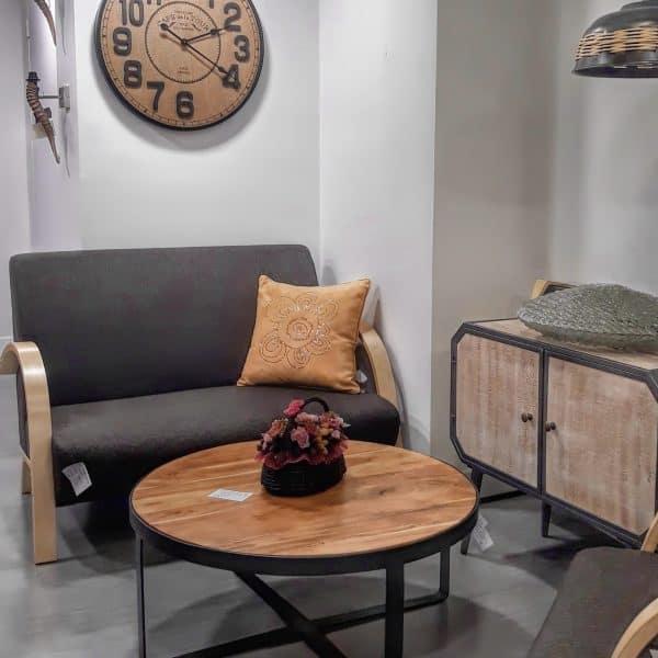 Τραπέζι Μέσης Oven Μέταλλο Βαφή Μαύρο και Ξύλο Ακακίας Φυσικό 80x80x35cm