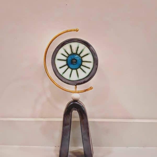 Χειροποίητο Επιτραπέζιο Μάτι Στρογγυλό Σταντ από Ορείχαλκο και Πορσελάνη 8x3x17cm