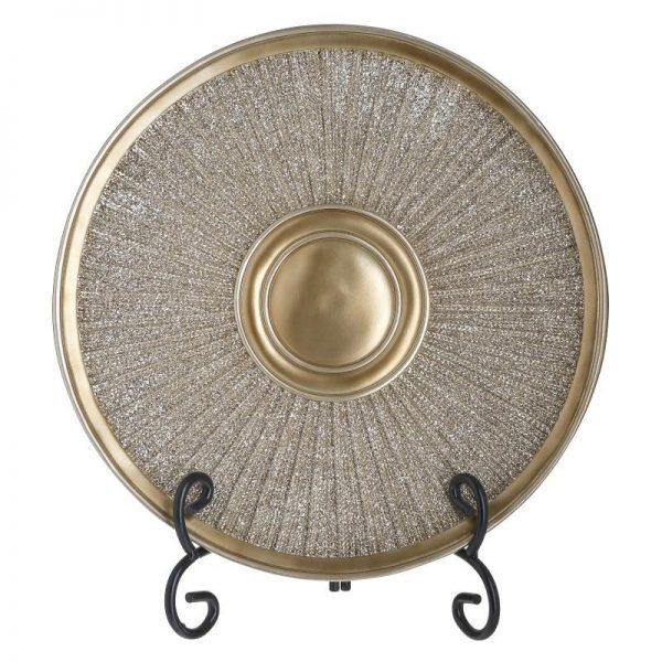 Inart Πιατέλα Χρυσό    Πολυρεσίνη 30x4x30 cm