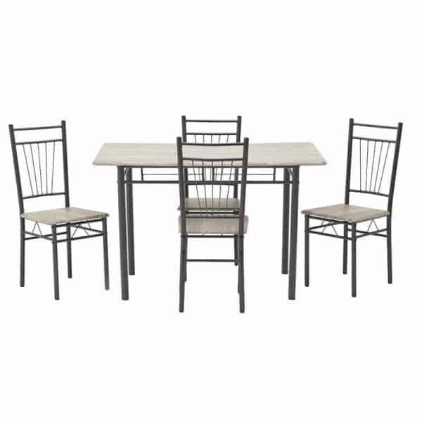 Inart Σετ Τραπεζαρία Με 4 Καρέκλες  Σίδερο Birch