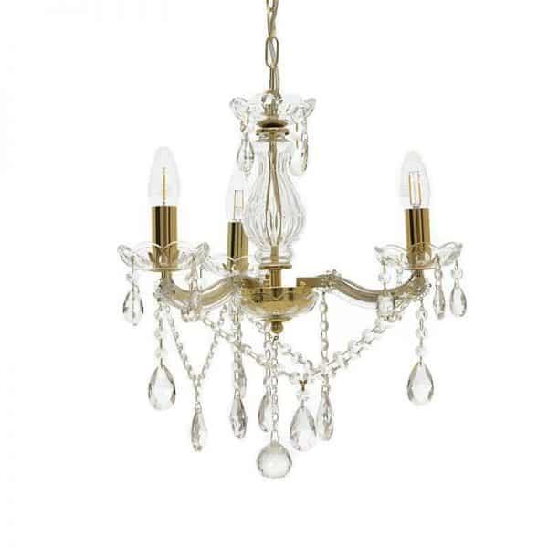 Inart Πολυέλαιος Διαφανές,Χρυσό Σίδερο   Γυαλί 42x42x42 cm