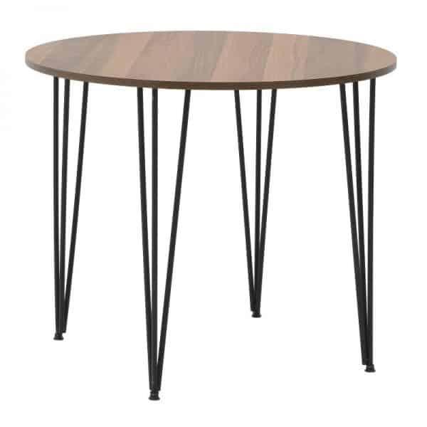 Inart Τραπέζι Φυσικό μπεζ,Μαύρο Σίδερο MDF 90x90x76 cm