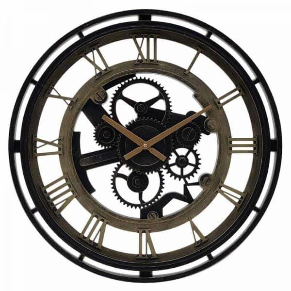 Inart Ρολόι Τοίχου Χρυσό,Μαύρο    Πλαστικό 50x4.5x50 cm