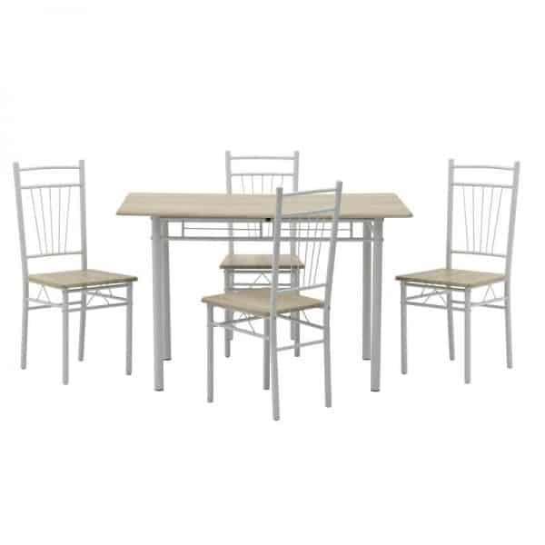 Inart Σετ Τραπεζαρία Με 4 Καρέκλες Φυσικό μπεζ,Λευκό-Ελεφαντόδοντο Σίδερο Birch