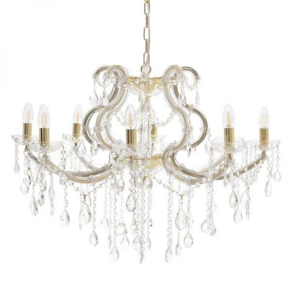 Inart Φωτιστικό Οροφής Διαφανές,Χρυσό    Γυαλί,Πλαστικό 72x72x78 cm