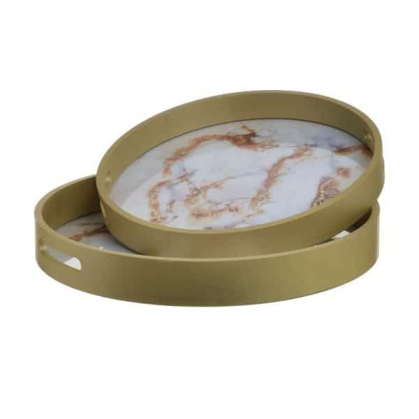 Inart Δίσκος Σετ Των 2 Λευκό-Ελεφαντόδοντο,Χρυσό