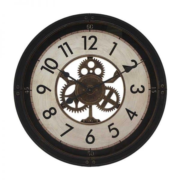 Inart Ρολόι Τοίχου Μαύρο,Μέντα    Πλαστικό 50x5x50 cm