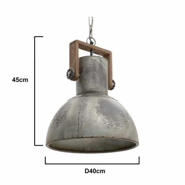 Inart Φωτιστικό Οροφής Ασήμι Σίδερο 40x40x45 cm