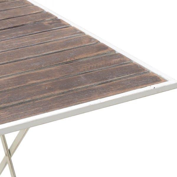 Inart Μεταλλικό/Ξύλινο Τραπέζι Φυσικό μπεζ,Λευκό-Ελεφαντόδοντο Σίδερο Δρúς 143.5x84x75.5 cm