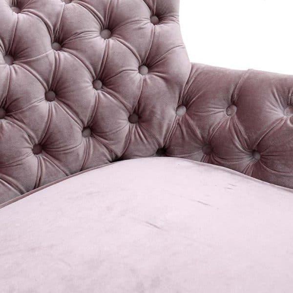 Inart Καναπές Βελούδινος Ροζ-Μωβ  Δρúς Συνθετικό / ΠΟΛΥΕΣΤΕΡ 117x71x76 cm